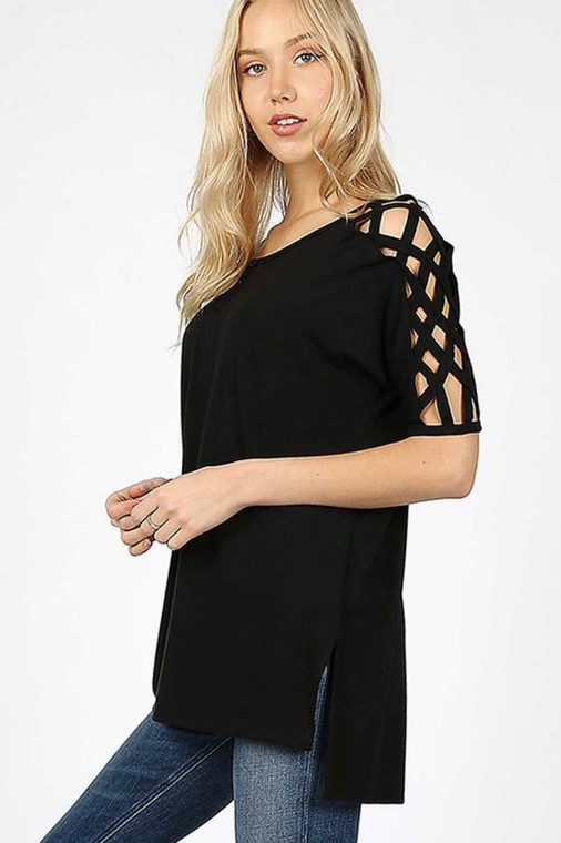 This shortsleeved top add a fun accent with the CrissCross detail around the shoulders. This is a high-low top can also be worn with leggings, the front is slightly shorter than the back with side slits. Plus Sizes Available in: Black and Hunter Green  Avaiable in 1X, 2X & 3X  55% Polyester,40% Rayon, 5% Spandex  Machine wash cold with like colors  Do not Bleach  Hang Dry