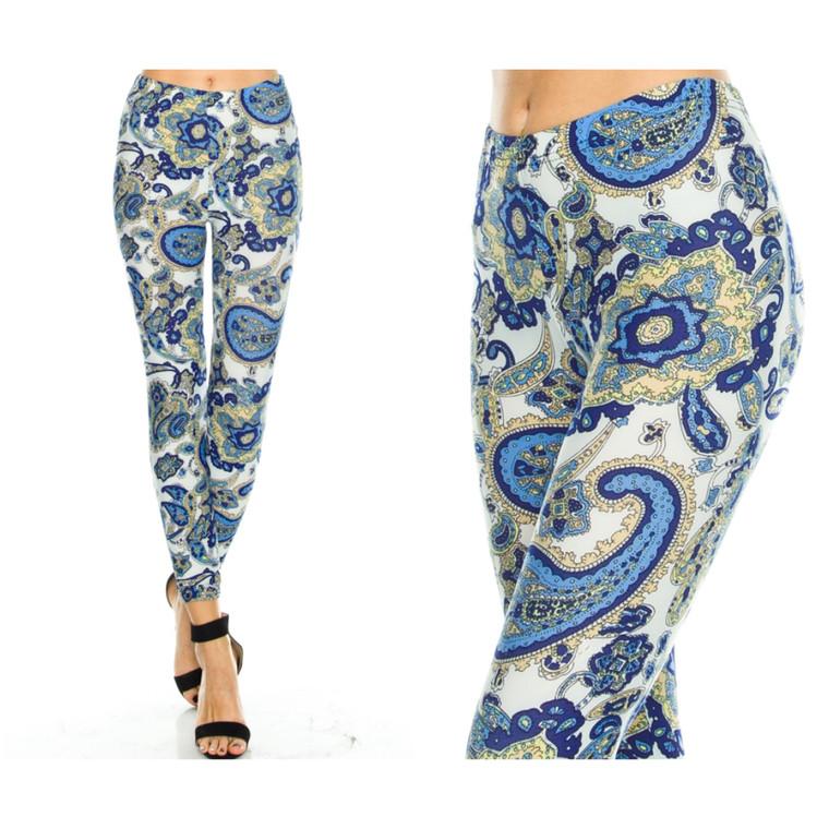 Blue Paisley Leggings
