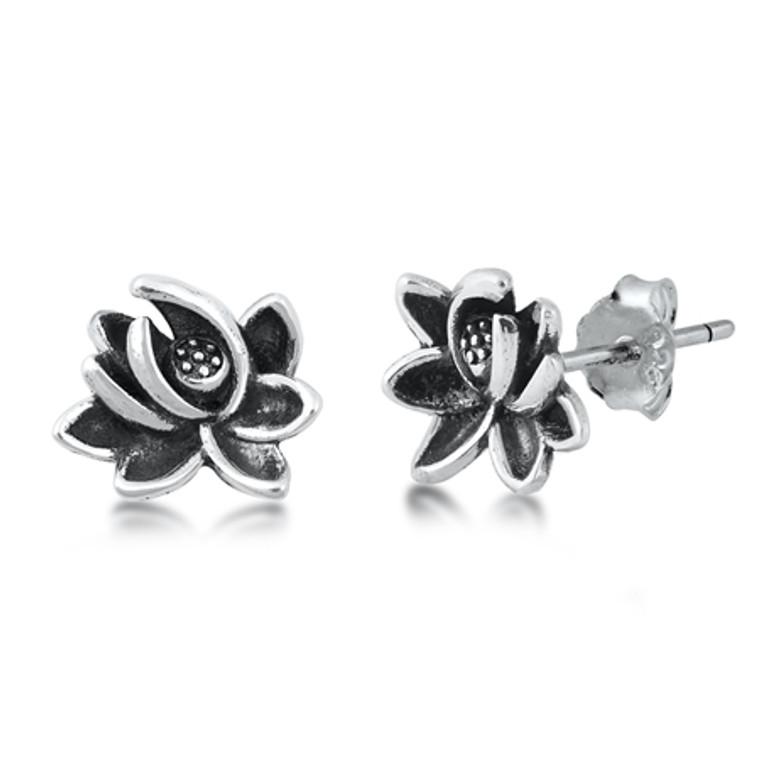 Lotus Sterling Silver Earrings