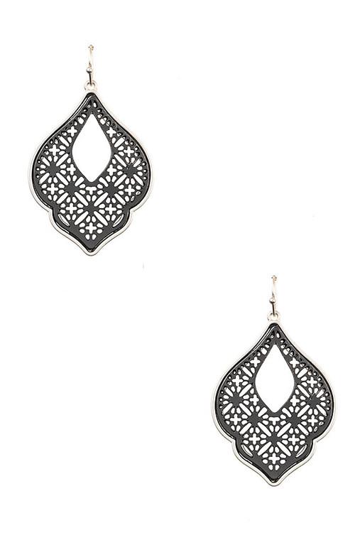 Black & Silver Brass Earrings