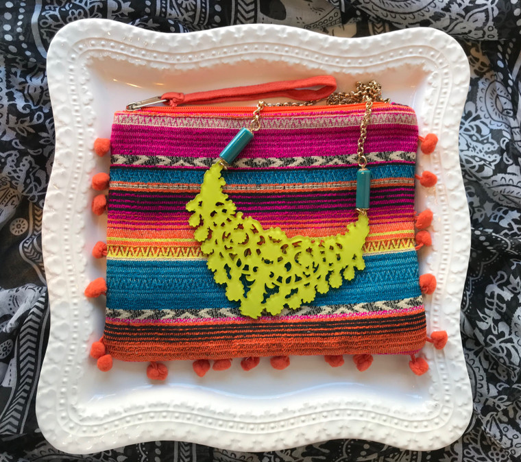 Lime Necklace & Wristlet Gift Set $48