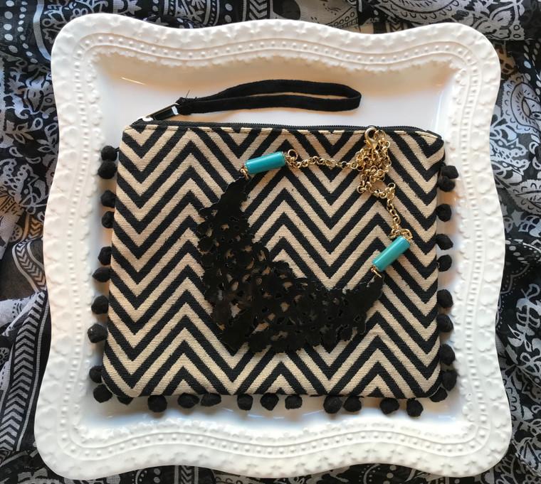Black Necklace & Wristlet Gift Set $49