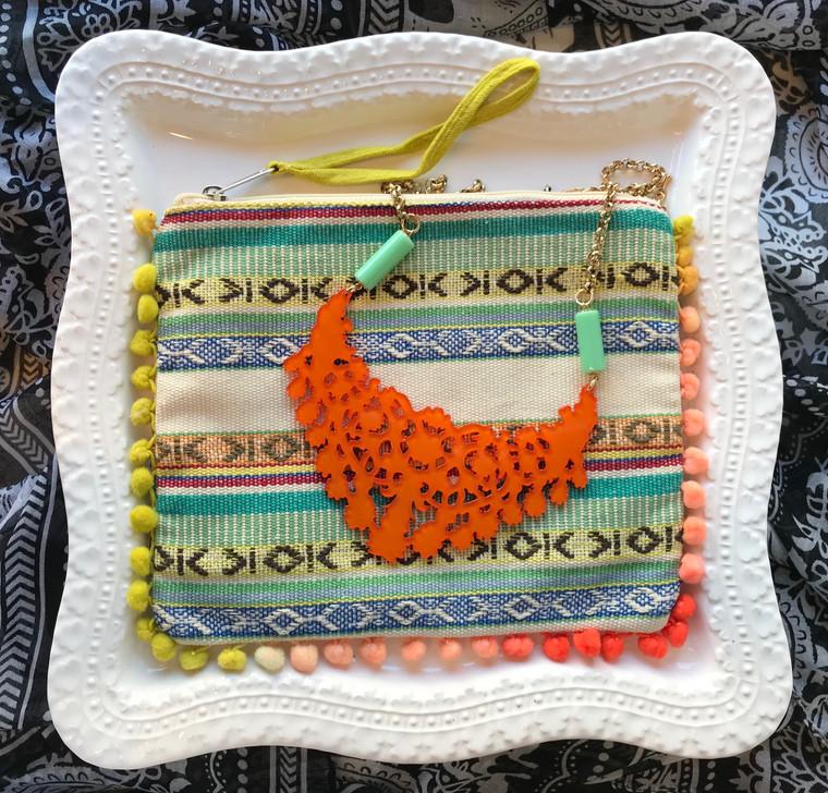 Orange Necklace & Wristlet Gift Set $48