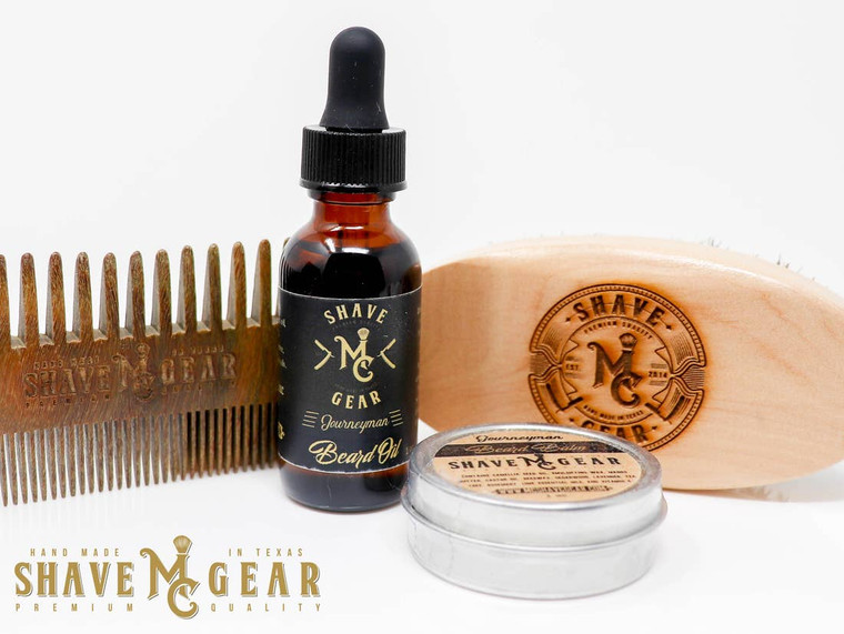 Everything you need in one beard care kit to keep your beard growing strong and healthy or to get started growing your fantasy facial hair. This kit includes it all: a full size beard oil and beard balm, a boar bristle beard brush, and a sandalwood beard comb. All kits come in a cotton drawstring bag with an engraved wood badge.   Available in our two best-selling scents: Imperial (cedarwood, patchouli and amber) Journeyman (cedarwood, lavender, tea tree, rosemary, and key lime).
