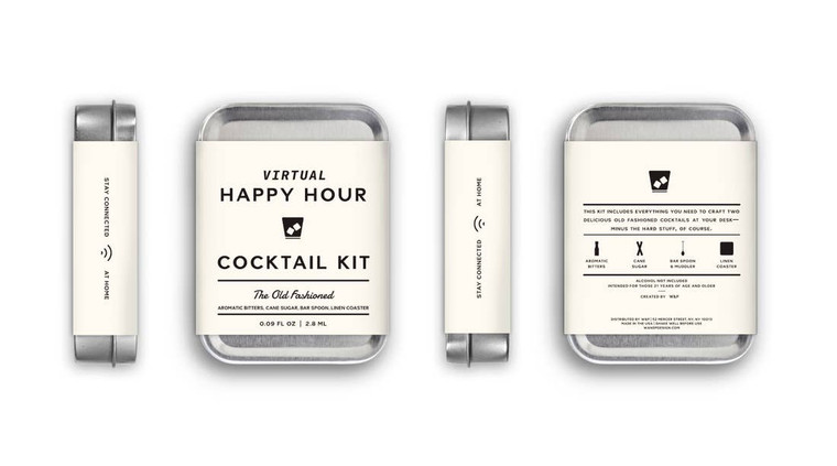 Virtual Happy Hour Kit - The Old Fashioned  This kit includes the tools to craft two classic Old Fashioned cocktails at your desk: small-batch aromatic bitters, cane sugar, a desk-size bar spoon and muddler, a recipe card and a linen coaster. Just add the hard stuff and dial in to your happy hour!