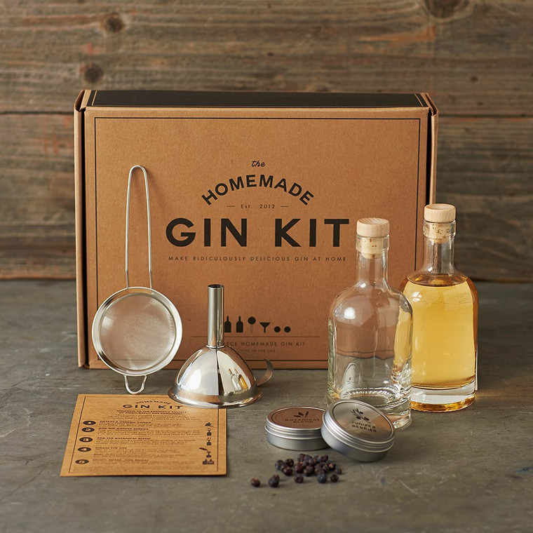 The Homemade Gin Kit contains everything you need to transform a generic bottle of vodka into a unique and delicious home-blend of your very own gin. Bring small-batch gin out of the distillery and into your hands.
