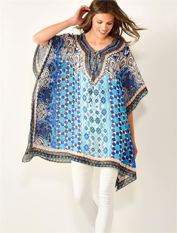 This beautiful printed kaftan can be worn as a beach or pool cover-up. You can pair this with leggings or white jeans to create a perfect summer night outfit.  Embelished with stones  100% Polyester