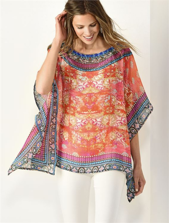 This beautiful printed kaftan can be worn as a beach or pool cover-up. You can pair this with leggings or white jeans to create a perfect summer night outfit. One size fits all - Small to XXL  Embelished with stones  100% Polyester