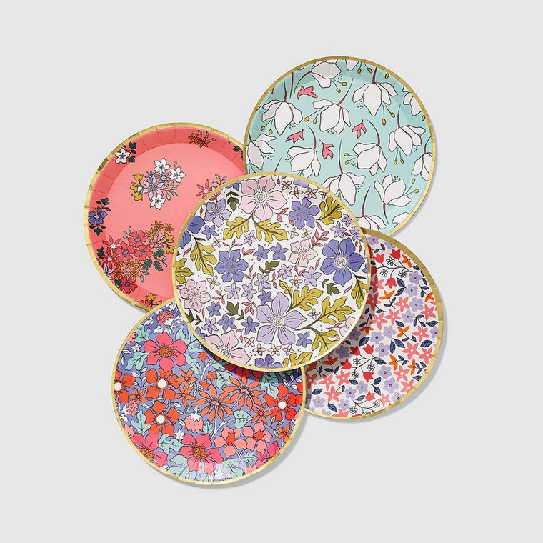 "Give your party a fresh from the garden feel with these small plates that are the perfect size for small bites and desserts. The contemporary floral print is accented with a gold rim. Includes 10 plates. Details 7.25"" paper plates. Pack of 10. Recyclable and compostable. Extra sturdy - pile on the second serving!"