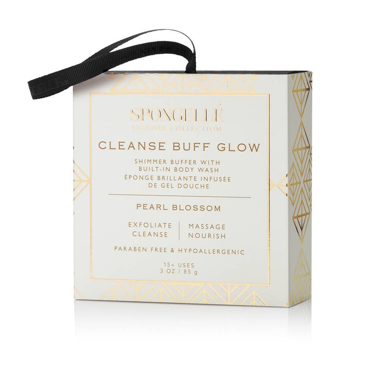 Pearl Blossom Shimmer Buffer Our Shimmer Buffers deliver a rich, indulgent lather to cleanse, exfoliate, massage and nourish the skin leaving it irresistibly soft and silky. Use day or night for a subtle glow and beautifully scented skin.