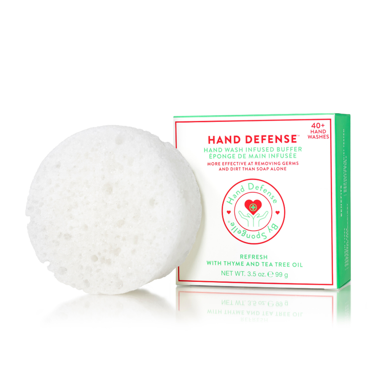 Refresh | Hand Defense Designed for frequent hand washing, this soap is enriched with Glycerin to moisturize and hydrate; Shea Butter and Cocoa Butter to smooth and soften; and Panthenol and Oatmeal to soothe and protect. The specially engineered sponge with patented technology thoroughly cleanses critical areas often overlooked during normal hand washing, such as the cuticle and around the nail edges. Fragrance Notes T: watery ozone, ocean greens M: delicate water lily, muguet bells B: soft woods, soft musk