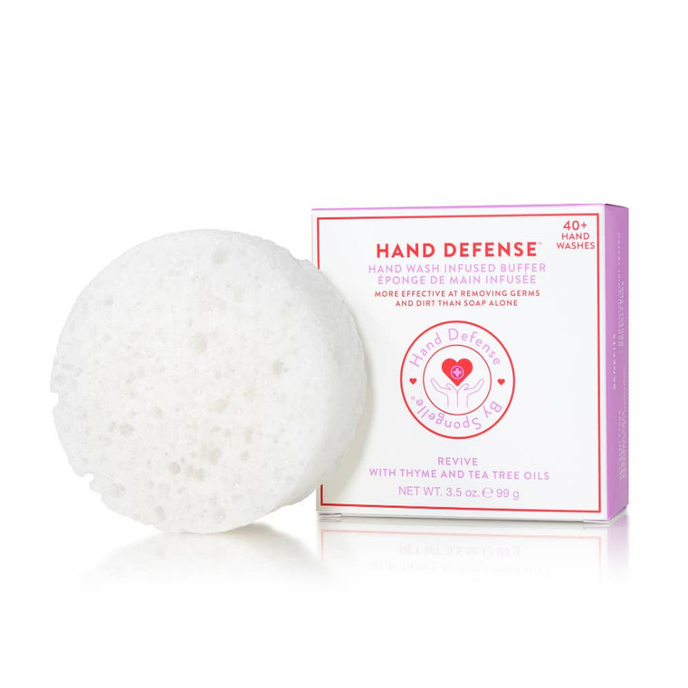 Revive   Hand Defense Designed for frequent hand washing, this soap is enriched with Glycerin to moisturize and hydrate; Shea Butter and Cocoa Butter to smooth and soften; and Panthenol and Oatmeal to soothe and protect. The specially engineered sponge with patented technology thoroughly cleanses critical areas often overlooked during normal hand washing, such as the cuticle and around the nail edges. Fragrance Notes T: fresh ozone, orange oil, sea mist accord M: lavender, water lily B: drift wood, soothing musk