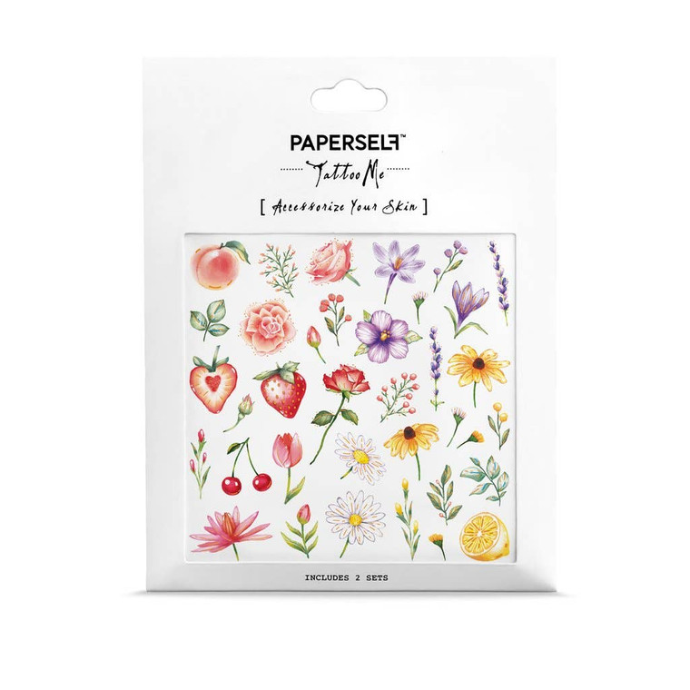 Add somecoloursand freshness in your life with this cute Flowers & Fruits Temporary Tattoo ! Featuring beautifully and delicately hand drawn flowers and fruits with bright colours and touches of gold, this design is perfect for Spring, Summer and Festivals.