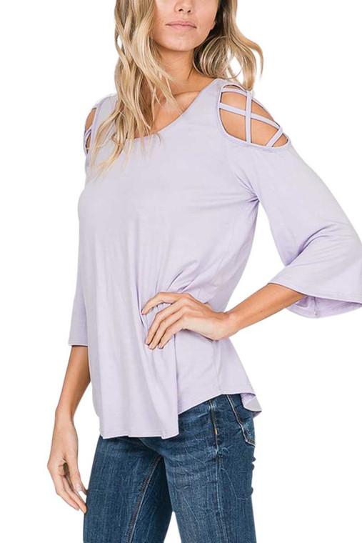Cold Shoulder Top - Lilac