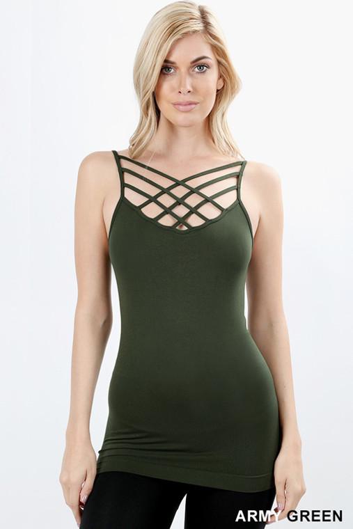 CrissCross Cami - Army Green