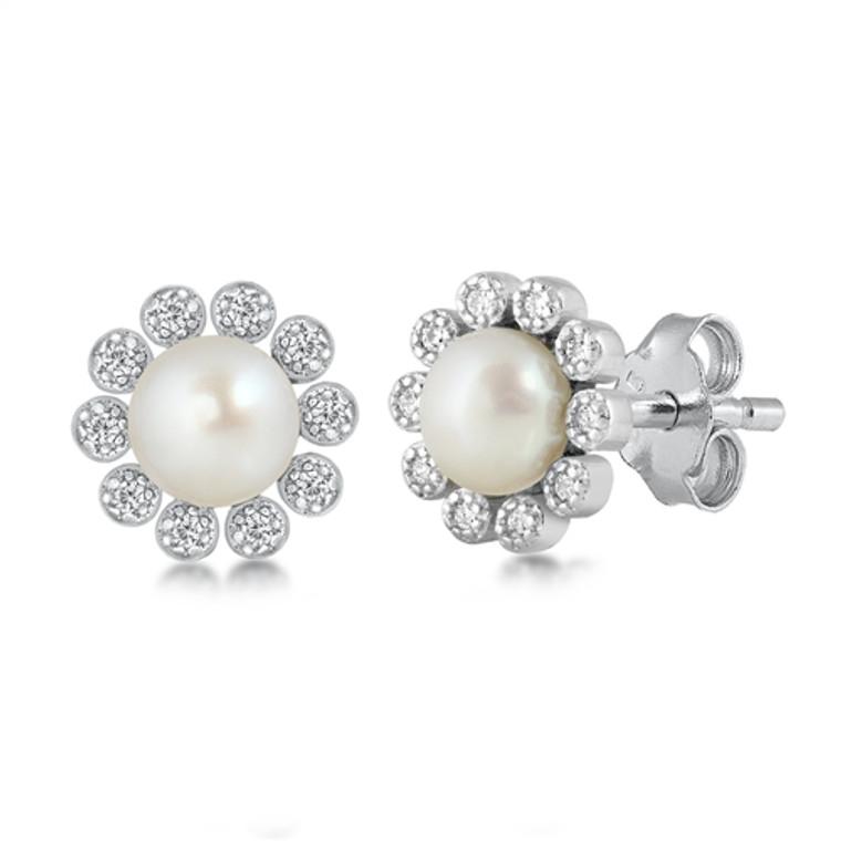 Pearl Flower Sterling Silver Earrings $29