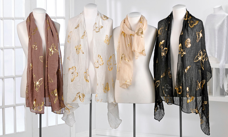 Lightweight Polyester Scarf with Butterfly Pattern. 4 Assorted Designs: White, Black, Taupe and Brown.