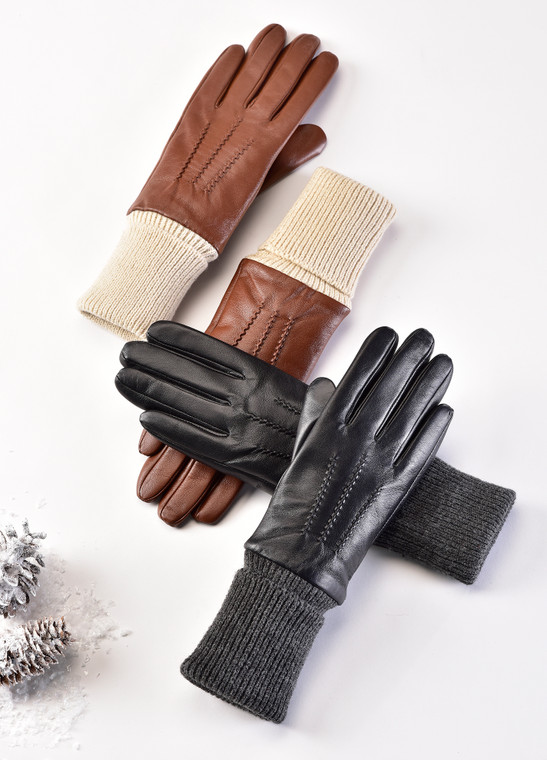 Leather Gloves with Knit Cuff