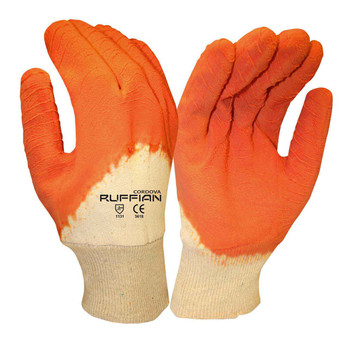 5618 RUFFIAN  PREMIUM RUBBER DIPPED  JERSEY LINED  ORANGE CRINKLE FINISH  KNIT WRIST Cordova Safety Products