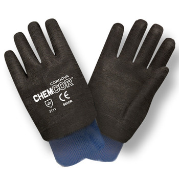 5800R CHEM-COR  BLACK SUPPORTED NEOPRENE  ROUGH FINISH  JERSEY LINED  KNIT WRIST Cordova Safety Products