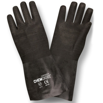 5812R CHEM-COR  BLACK SUPPORTED NEOPRENE  ROUGH FINISH  JERSEY LINED  12-INCH Cordova Safety Products