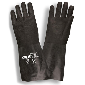 5814R CHEM-COR  BLACK SUPPORTED NEOPRENE  ROUGH FINISH  JERSEY LINED  14-INCH Cordova Safety Products