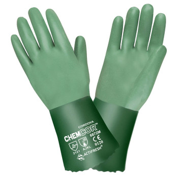 6872XL CHEM-COR  GREEN DOUBLE DIPPED NEOPRENE  SANDPAPER GRIP  INTERLOCK LINED  12-INCH Cordova Safety Products