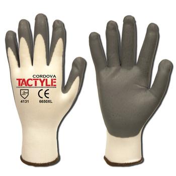 6650XS TACTYLE /13-GAUGE  WHITE NYLON SHELL  GRAY FOAM NITRILE PALM COATING Cordova Safety Products