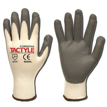6650L TACTYLE /13-GAUGE  WHITE NYLON SHELL  GRAY FOAM NITRILE PALM COATING Cordova Safety Products