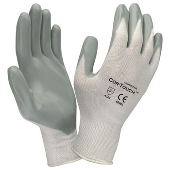 6890L COR-TOUCH  13-GAUGE  WHITE NYLON SHELL  GRAY FLAT NITRILE PALM COATING Cordova Safety Products