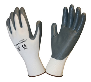 6892M COR-TOUCH II  13-GAUGE  WHITE POLYESTER SHELL  GRAY FLAT NITRILE PALM COATING Cordova Safety Products