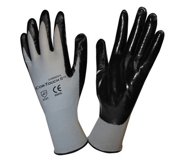 6894XS COR-TOUCH II  13-GAUGE  GRAY POLYESTER SHELL  BLACK FLAT NITRILE PALM COATING  Cordova Safety Products