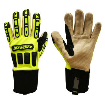 7720M OGRE   LIME GREEN SPANDEX BACK  CORDED CANVAS PALM  TPR PROTECTORS  NEOPRENE CUFF Cordova Safety Products
