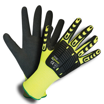 7735L OGRE-IMPACT   13-GAUGE  HI-VIS LIME POLYESTER SHELL  TPR PROTECTORS  INTERIOR FOAM PALM PADDING  BLACK SANDY NITRILE PALM COATING Cordova Safety Products