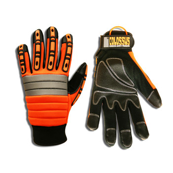 7745L COLOSSUS  ORANGE SPANDEX BACK  FOAM METACARPAL PADDING  TPR PROTECTORS  BLACK SYNTHETIC LEATHER PALM  PVC PALM REINFORCEMENTS  HOOK & LOOP CLOSURE Cordova Safety Products