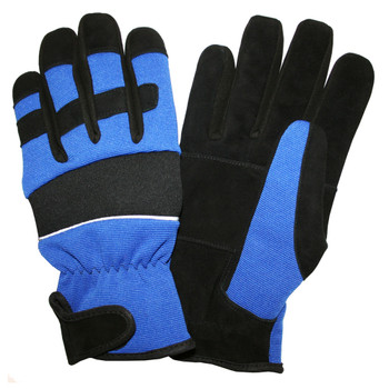 77011 PIT PRO  ACTIVITY GLOVE  BLACK SYNTHETIC LEATHER PALM  BLUE SPANDEX BACK  THINSULATE LINED  HOOK & LOOP CLOSURE  LARGE Cordova Safety Products