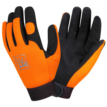 77071 PIT PRO  ACTIVITY GLOVE  BLACK SYNTHETIC LEATHER PALM  ORANGE SPANDEX BACK  HOOK & LOOP CLOSURE  LARGE Cordova Safety Products