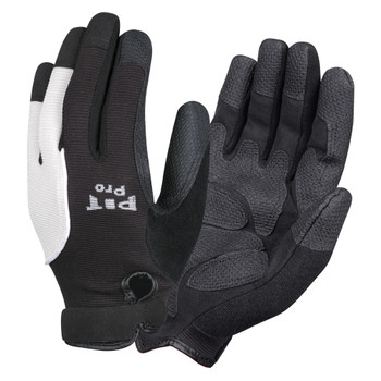 77671 PIT PRO  ACTIVITY GLOVE  BLACK SYNTHETIC LEATHER PALM  BLACK/WHITE SPANDEX BACK  HOOK & LOOP CLOSURE  LARGE Cordova Safety Products
