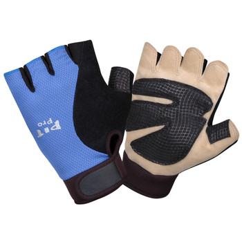 77771 PIT PRO  ACTIVITY GLOVE  TAN SYNTHETIC LEATHER PALM  GEL FOAM PADDING  BLUE/BLACK SPANDEX BACK  HALF FINGERS  HOOK & LOOP CLOSURE  LARGE Cordova Safety Products