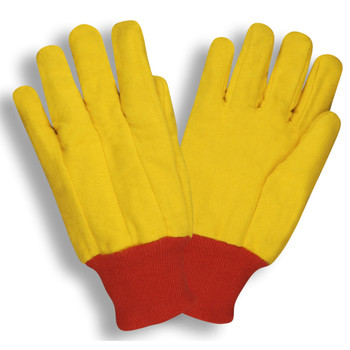 2320 YELLOW CHORE  SINGLE PLY  RED KNIT WRIST Cordova Safety Products