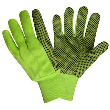 2715 HI-VIS LIME CANVAS  BLACK PVC DOTS  LIME KNIT WRIST Cordova Safety Products