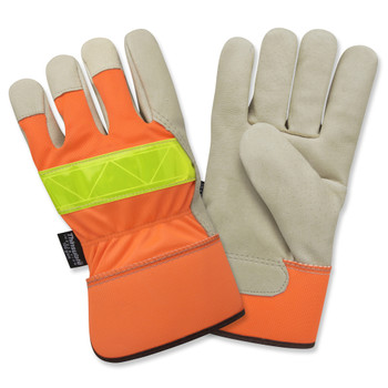 F8750L PREMIUM GRAIN PIGSKIN LEATHER PALM  THINSULATE LINED  HI-VIS ORANGE BACK  LIME REFLECTIVE TAPE ON BACK  RUBBERIZED SAFETY CUFF Cordova Safety Products