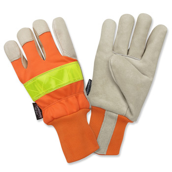 F8760XL PREMIUM GRAIN PIGSKIN LEATHER PALM  THINSULATE LINED  HI-VIS ORANGE BACK  LIME REFLECTIVE TAPE ON BACK  RUBBERIZED SAFETY CUFF Cordova Safety Products