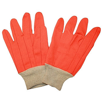 2805CDN HI-VIS ORANGE DOUBLE PALM  POLYESTER/COTTON CORDED CANVAS  NATURAL KNIT WRIST Cordova Safety Products