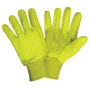 2815CDN HI-VIS LIME DOUBLE PALM  POLYESTER/COTTON CORDED CANVAS  NATURAL KNIT WRIST Cordova Safety Products