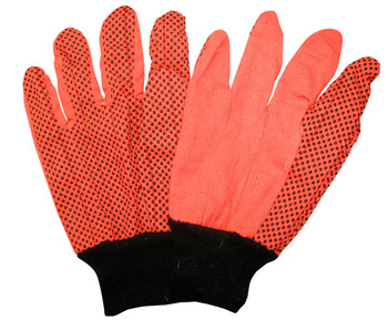 2866BD HI-VIS ORANGE DOUBLE PALM  POLY/COTTON CORDED CANVAS  BLACK PVC DOTS  BLACK KNIT WRIST Cordova Safety Products