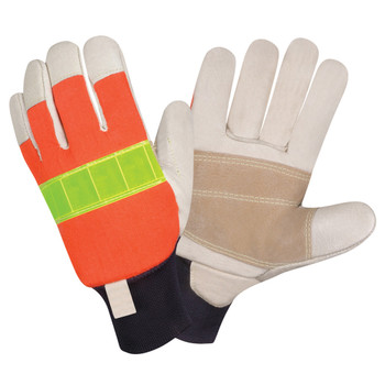 1946-L PREMIUM GRAIN PIGSKIN LEATHER PALM  DOUBLE PALM  HI-VIS ORANGE BACK  REFLECTIVE KNUCKLE STRAP  5 MM FOAM PADDED BACK  KNIT WRIST  KEVLAR SEWN Cordova Safety Products