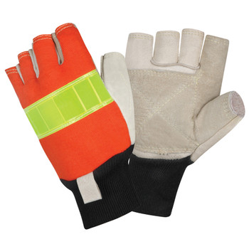 1950-M PREMIUM GRAIN PIGSKIN LEATHER PALM  FINGERLESS  HI-VIS ORANGE BACK  REFLECTIVE KNUCKLE STRAP  3MM FOAM PADDED BACK  KNIT WRIST  KEVLAR SEWN Cordova Safety Products
