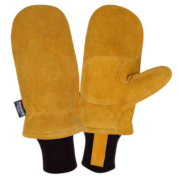FB300M FREEZEBEATER PREMIUM RUSSET SIDE SPLIT COWHIDE MITTEN  DOUBLE PALM & REINFORCED CROTCH  C150 THINSULATE LINED  HEAVY NYLON KNIT WRIST Cordova Safety Products