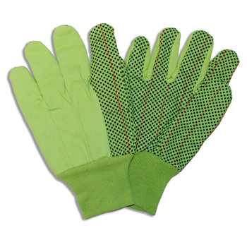 2876BD HI-VIS LIME DOUBLE PALM  POLY/COTTON CORDED CANVAS  BLACK PVC DOTS  BLACK KNIT WRIST Cordova Safety Products